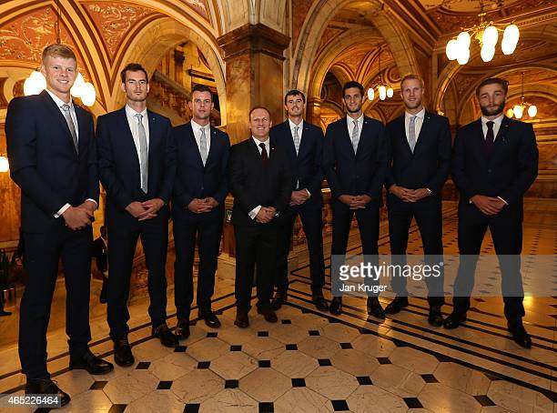 Kyle Edmund Andy Murray Leon Smith Matt Little Jamie Murray James Ward Dominic Inglot and Liam Broady of The Aegon GB Davis Cup Team pose ahead of...
