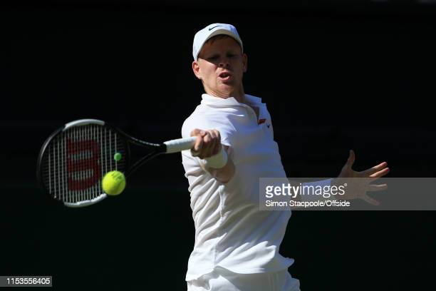 Kyle Edmund in action against Fernando Verdasco during their Gentlemen's Singles 2nd Round match on Day 3 of The Championships - Wimbledon 2019 at...