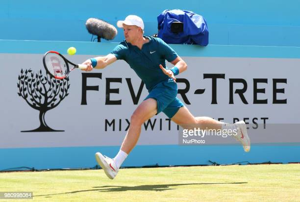 Kyle Edmund in action during FeverTree Championships 2nd Round match between Nick Kyrgios against Kyle Edmund at The Queen's Club London on 21 June...