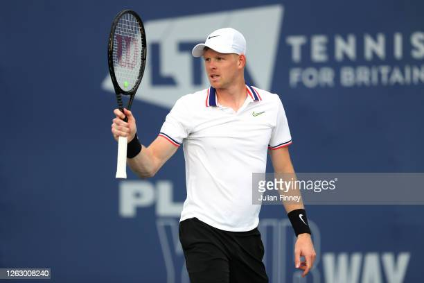 Kyle Edmund of British Bulldogs celebrates a point in his match against Dan Evans of Union Jacks during day five of the St. James's Place Battle of...