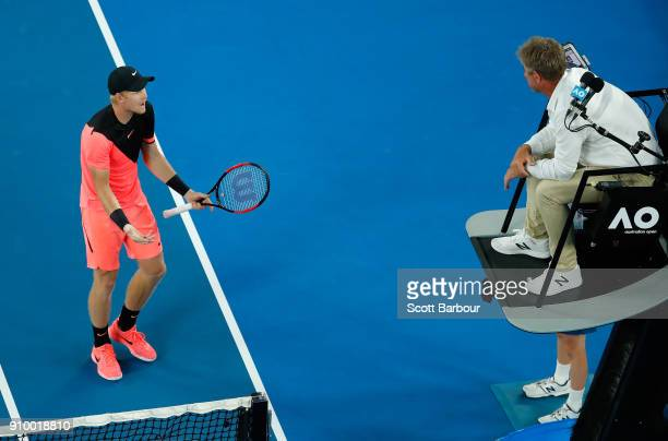 Kyle Edmund of Great Britain argues with the chair umpire in his semifinal match against Marin Cilic of Croatia on day 11 of the 2018 Australian Open...