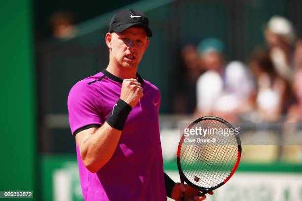 Kyle Edmund of Great Britain celebrates a point against Dan Evans of Great Britain in their first round match on day two of the Monte Carlo Rolex...