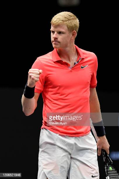Kyle Edmund of Great Britain celebrates a point during his Men's Singles semifinal match against Miomir Kecmanovic of Serbia on day six of the 2020...