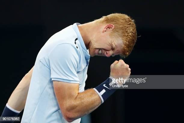 Kyle Edmund of Great Britain celebrates a point in his match against Hyeon Chung of Korea during day five of the 2018 Brisbane International at Pat...