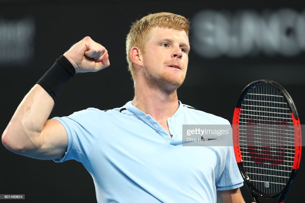 Kyle Edmund of Great Britain celebrates a point in his match against Grigor Dimitrovof of Bulgaria during day six of the 2018 Brisbane International at Pat Rafter Arena on January 5, 2018 in Brisbane, Australia.