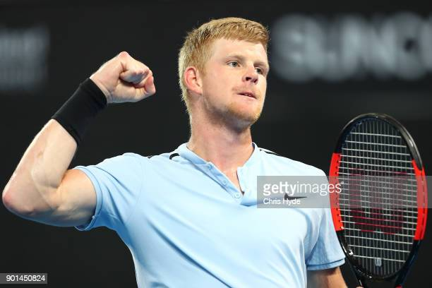 Kyle Edmund of Great Britain celebrates a point in his match against Grigor Dimitrovof of Bulgaria during day six of the 2018 Brisbane International...