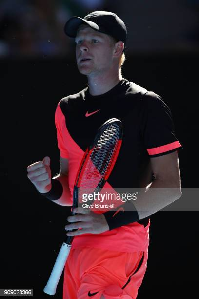 Kyle Edmund of Great Britain celebrates a point in his quarterfinal match against Grigor Dimitrov of Bulgaria on day nine of the 2018 Australian Open...