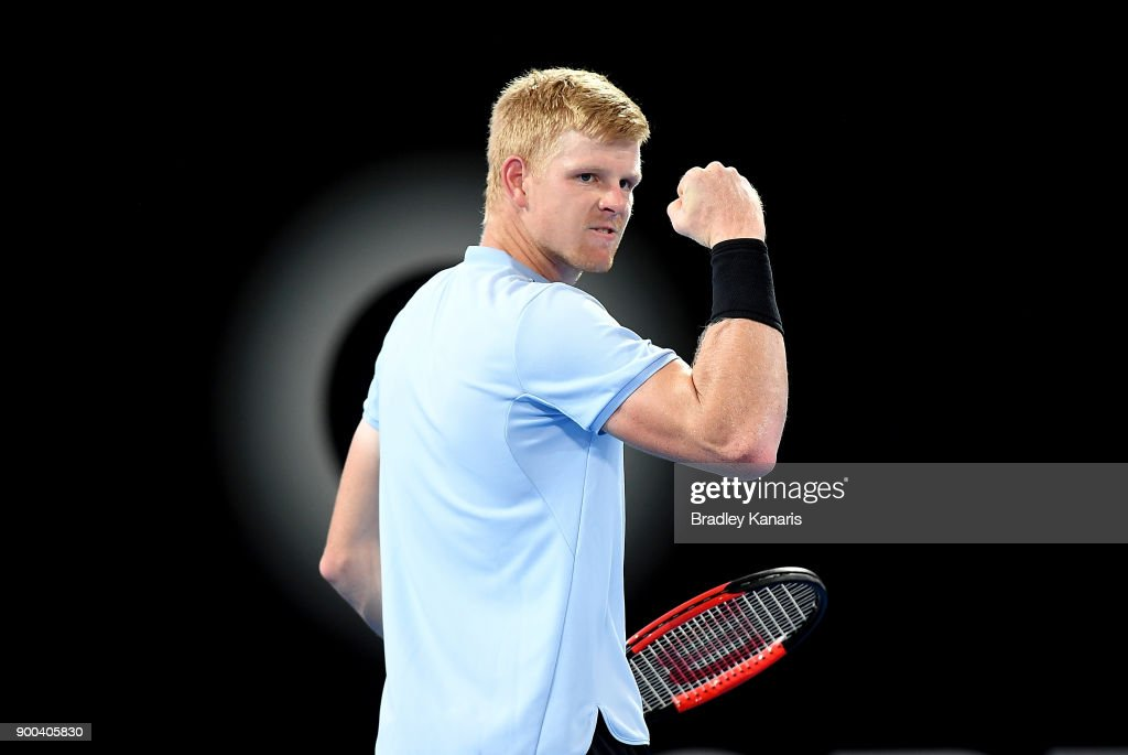 Kyle Edmund of Great Britain celebrates after winning a point in his match against Denis Shapovalov of Canada during day three of the 2018 Brisbane International at Pat Rafter Arena on January 2, 2018 in Brisbane, Australia.
