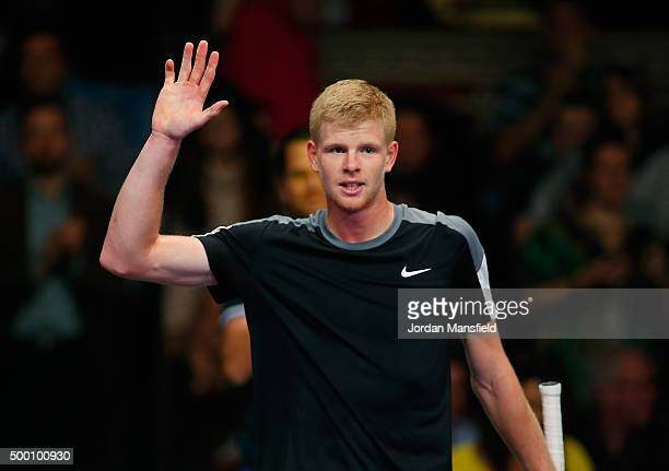 Kyle Edmund of Great Britain celebrates after winning his Tie Break Tennis singles match against Andy Murray of Great Britain during day four of the...