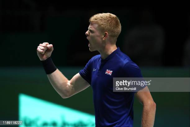 Kyle Edmund of Great Britain celebrates during his match against Mikhail Kukushkin of Kazakhstan during Day 4 of the 2019 Davis Cup at La Caja Magica...