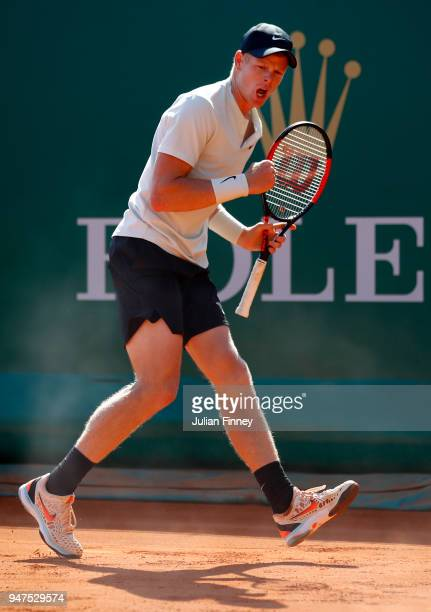 Kyle Edmund of Great Britain celebrates during his Mens Singles match against Andreas Seppi of Italy at MonteCarlo Sporting Club on April 17 2018 in...