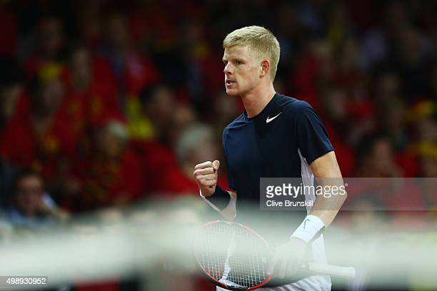 Kyle Edmund of Great Britain celebrates during the singles match against David Goffin of Belgium on day one of the Davis Cup Final 2015 at Flanders...