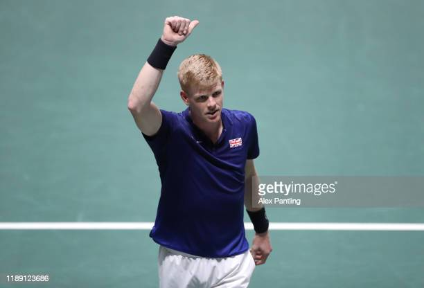 Kyle Edmund of Great Britain celebrates following his match against Mikhail Kukushkin of Kazakhstan during Day 4 of the 2019 Davis Cup at La Caja...