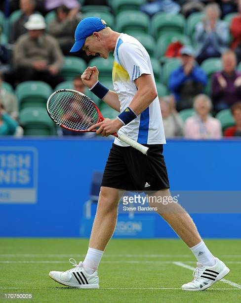 Kyle Edmund of Great Britain celebrates his victory during his first round men's singles match against Kenny de Schepper of France during day three...