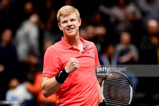 Kyle Edmund of Great Britain celebrates match point after winning the Men's Singles final match against Andreas Seppi of Italy on day seven of the...