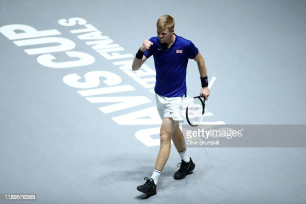 Kyle Edmund of Great Britain celebrates match point point in his semi final singles match against Feliciano Lopez of Spain during Day 6 of the 2019...