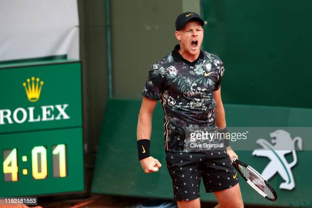 Kyle Edmund of Great Britain celebrates victory during his mens singles first round match against Jeremy Chardy of France during Day three of the...