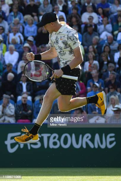 Kyle Edmund of Great Britain celebrates victory in his quarter final match against Dan Evans of Great Britain on day 4 of the Nature Valley...