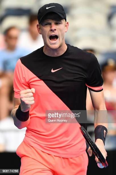 Kyle Edmund of Great Britain celebrates winning a point in his fourth round match against Andreas Seppi of Italy on day seven of the 2018 Australian...