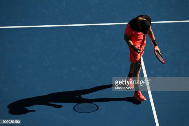 Kyle Edmund of Great Britain celebrates winning a point in his quarterfinal match against Grigor Dimitrov of Bulgaria on day nine of the 2018...