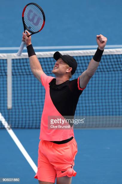 Kyle Edmund of Great Britain celebrates winning his first round match against Kevin Anderson of South Africa on day one of the 2018 Australian Open...