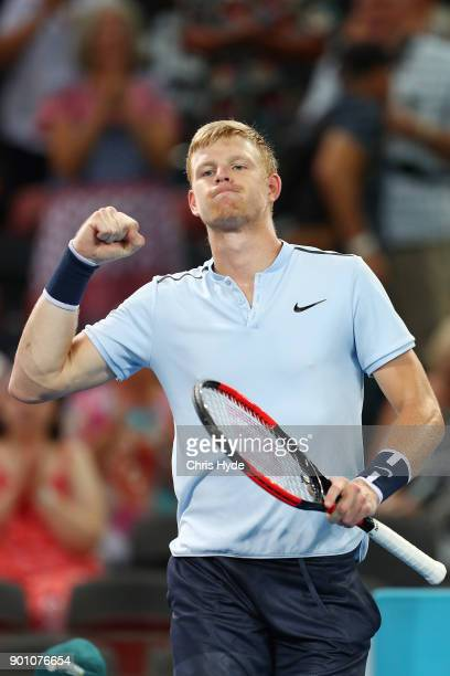 Kyle Edmund of Great Britain celebrates winning his match against Hyeon Chung of Korea during day five of the 2018 Brisbane International at Pat...
