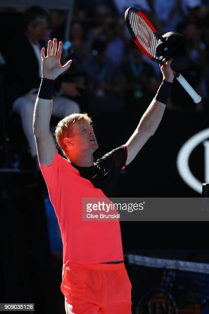 Kyle Edmund of Great Britain celebrates winning his quarterfinal match against Grigor Dimitrov of Bulgaria on day nine of the 2018 Australian Open at...