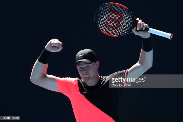 Kyle Edmund of Great Britain celebrates winning match point in his second round match against Denis Istomin of Uzbekistan on day three of the 2018...