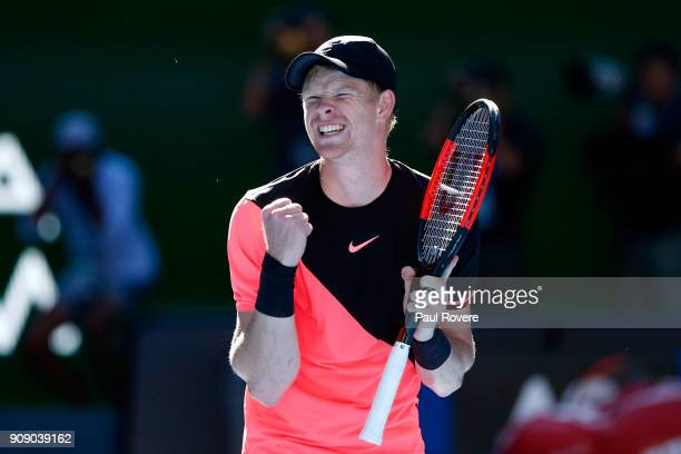 Kyle Edmund of Great Britain celebrates winning match point in his quarterfinal match against Grigor Dimitrov of Bulgaria on day nine of the 2018...