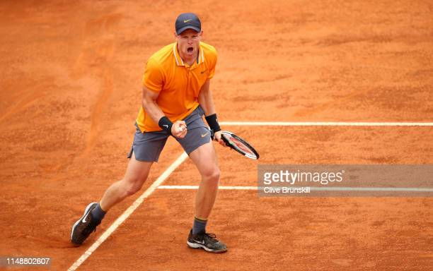 Kyle Edmund of Great Britain celebrates winning the first set against Fernando Verdasco of Spain in their first round match during day two of the...