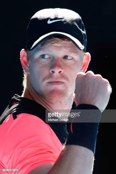 Kyle Edmund of Great Britain celebrates winning the third set in his quarterfinal match against Grigor Dimitrov of Bulgaria on day nine of the 2018...