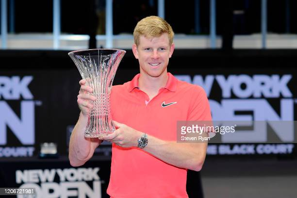 Kyle Edmund of Great Britain celebrates with the winners trophy after winning his Men's Singles final match against Andreas Seppi of Italy on day...