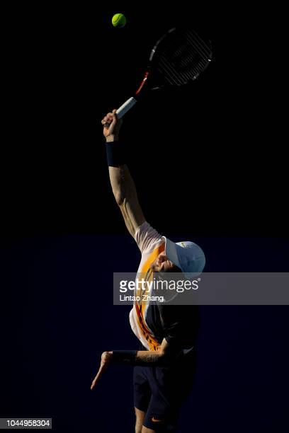 Kyle Edmund of Great Britain hits a return against Matteo Berrettini of Italy during their Men's Singles 2nd Round match of the 2018 China Open at...