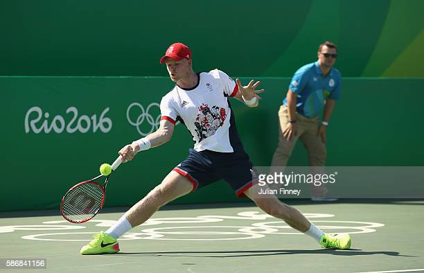 Kyle Edmund of Great Britain in action against Jordan Thompson of Australia in the men's first round on Day 1 of the Rio 2016 Olympic Games at the...