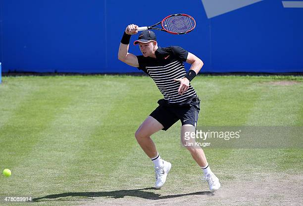 Kyle Edmund of Great Britain in action against Malek Jaziri of Tunisia on day two of the Aegon Open Nottingham at Nottingham Tennis Centre on June 22...