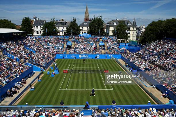 Kyle Edmund of Great Britain in action during his round one match against Donald Young of USA during day two of the Aegon International Eastbourne on...