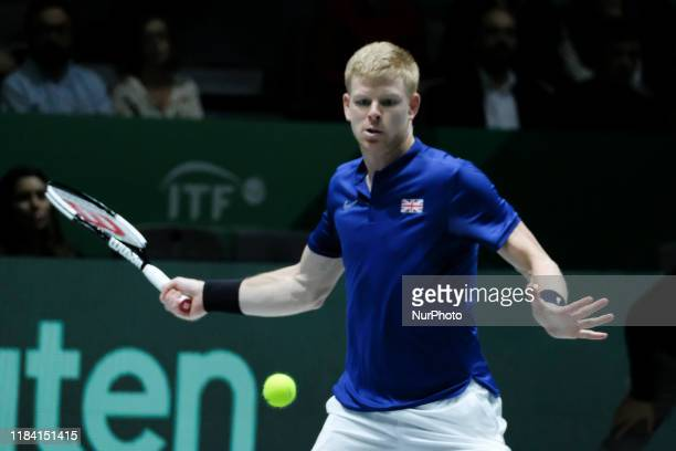 Kyle Edmund of Great Britain in his semi final singles match against Feliciano Lopez of Spain during Day 6 of the 2019 Davis Cup at La Caja Magica on...