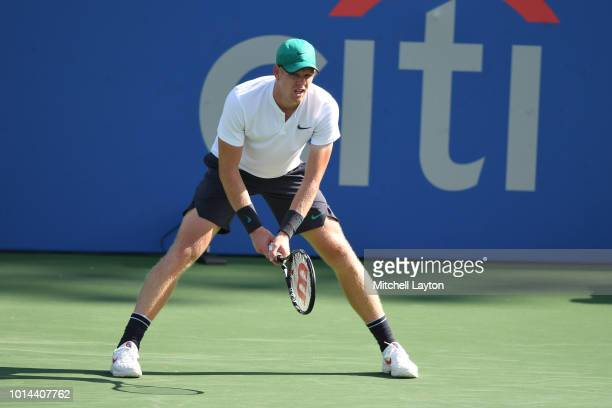 Kyle Edmund of Great Britain in position for a shot from Andy Murray of Great Britain during Day Five of the Citi Open at the Rock Creek Tennis...