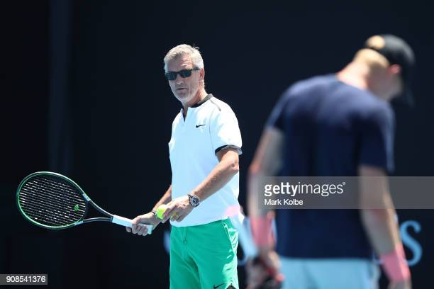 Kyle Edmund of Great Britain is seen during a practice session with his coach Fredrik Rosengren on day eight of the 2018 Australian Open at Melbourne...