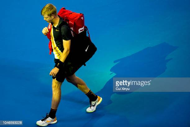 Kyle Edmund of Great Britain leaves the court after his Men's Singles Semifinals match against Nikoloz Basilashvili of Georgia in the 2018 China Open...