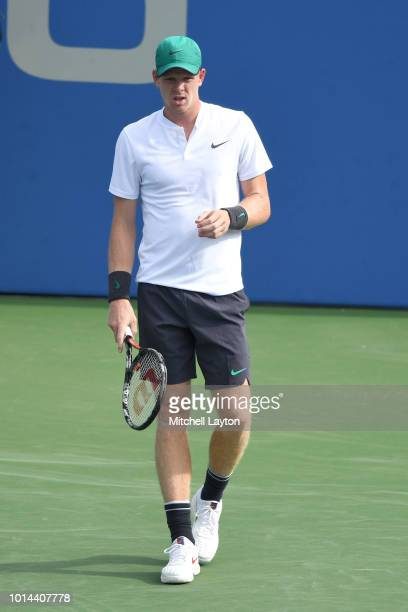 Kyle Edmund of Great Britain looks on during a match against Andy Murray of Great Britain during Day Five of the Citi Open at the Rock Creek Tennis...