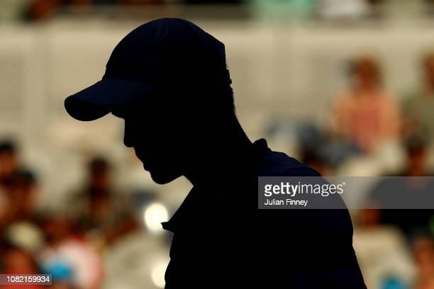 Kyle Edmund of Great Britain looks on in his first round match against Tomas Berdych of Czech Republic during day one of the 2019 Australian Open at...