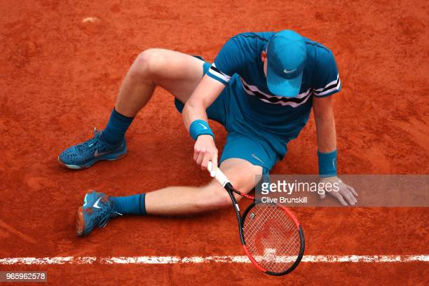 Kyle Edmund of Great Britain picks himself up off of the clay during the mens singles third round match against Fabio Fognini of Italy during day...