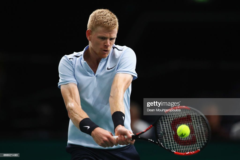 Kyle Edmund of Great Britain plays a backhand against Evgeny Donskoy of Russia during Day 2 of the Rolex Paris Masters held at the AccorHotels Arena on October 31, 2017 in Paris, France.
