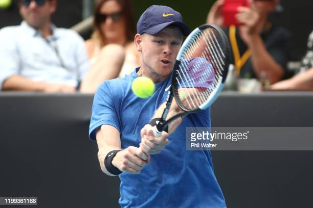 Kyle Edmund of Great Britain plays a backhand during his singles game against Alejandro Davidovich Fokina of Spain during day two of the 2020 Men's...