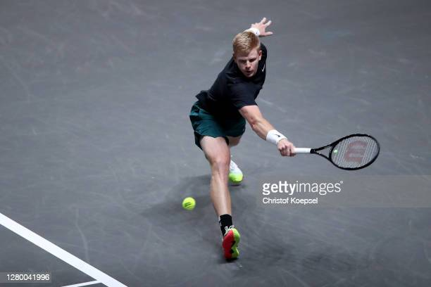 Kyle Edmund of Great Britain plays a backhand during the match between Kyle Edmund of Great Britain and Lloyd Harris of South Africa of day two of...