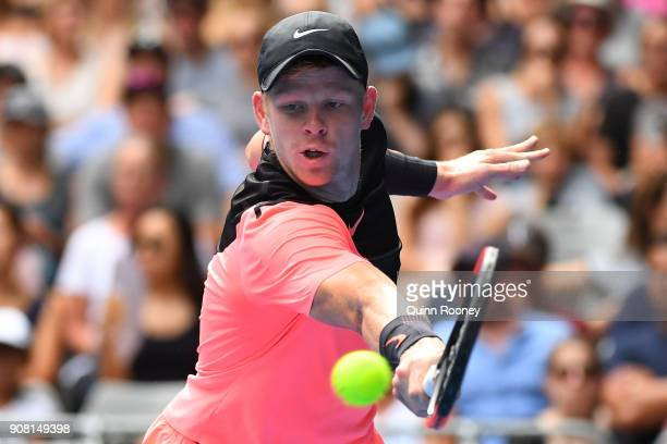 Kyle Edmund of Great Britain plays a backhand in his fourth round match against Andreas Seppi of Italy on day seven of the 2018 Australian Open at...