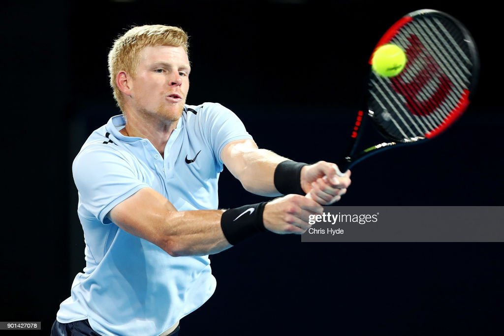 Kyle Edmund of Great Britain plays a backhand in his match against Grigor Dimitrovof of Bulgaria during day six of the 2018 Brisbane International at Pat Rafter Arena on January 5, 2018 in Brisbane, Australia.