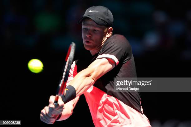 Kyle Edmund of Great Britain plays a backhand in his quarterfinal match against Grigor Dimitrov of Bulgaria on day nine of the 2018 Australian Open...