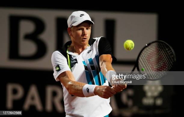 Kyle Edmund of Great Britain plays a backhand in his round one match against Marco Cecchinato of Italy during day two of the Internazionali BNL...